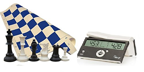 "Tournament Chess Set 34 Chess Pieces Blue Chess Board (20"" x 20"" Vinyl Rollup) DGT Black Easy Chess... by"