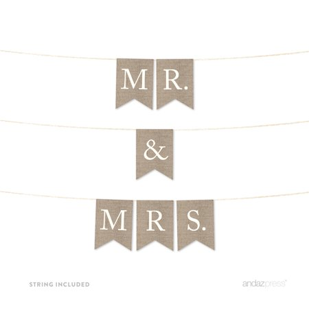 Mr. & Mrs. Burlap Wedding Pennant Party - Custom Wedding Banners
