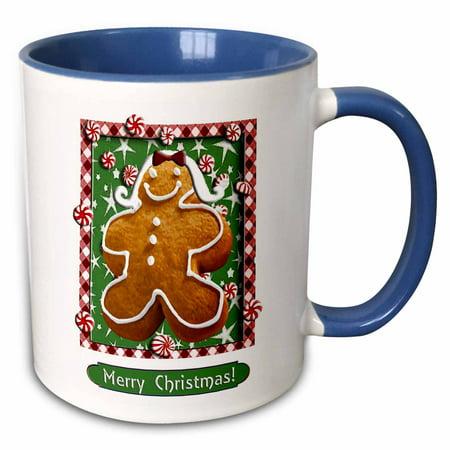 3dRose Gingerbread Girl, Merry Christmas - Two Tone Blue Mug, 11-ounce