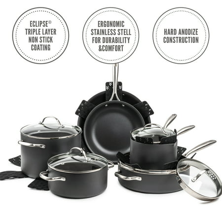 Thyme & Table Non-Stick 15-Piece Cookware Set Hard Anodized Aluminum