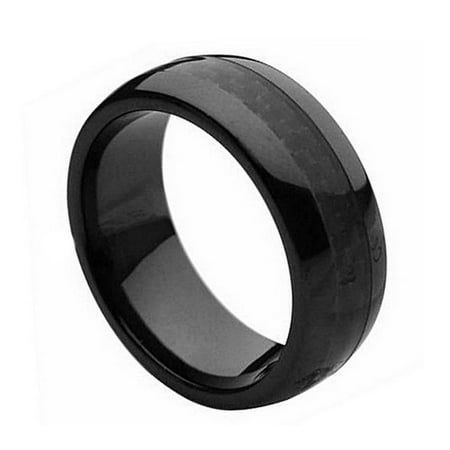 8Mm Ceramic Black With Black Carbon Fiber Inlay Wedding Band Ring For Men And Ladies