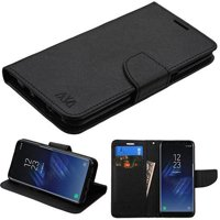 Samsung Galaxy S8 Leather 2 Tone Wallet Pouch Flip Cover +Screen Guard