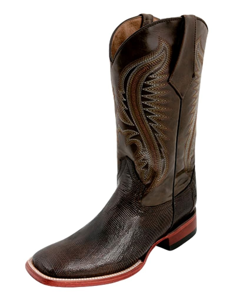 Ferrini Western Boots Mens Block Heel Lizard Belly Chocolate 13693-09 by Ferrini