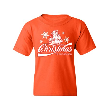 Enjoy Christmas Tis The Season Youth T-shirt Orange Large