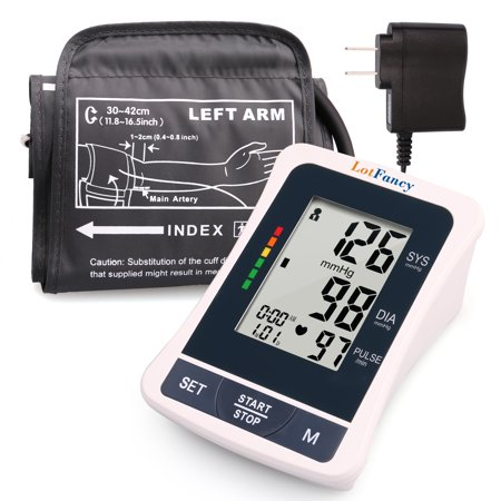 LotFancy Blood Pressure Monitor with Adapter, Digital BP Machine - Automatic Home Measurement Device, 2 User Mode , 120 Recordings, Large Cuff 11.8 to 16.5 Inches