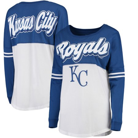 Kansas City Royals 5th & Ocean by New Era Women's MLB Baby Jersey Varsity Crew Boyfriend Long Sleeve T-Shirt - White - Party City In Jersey City
