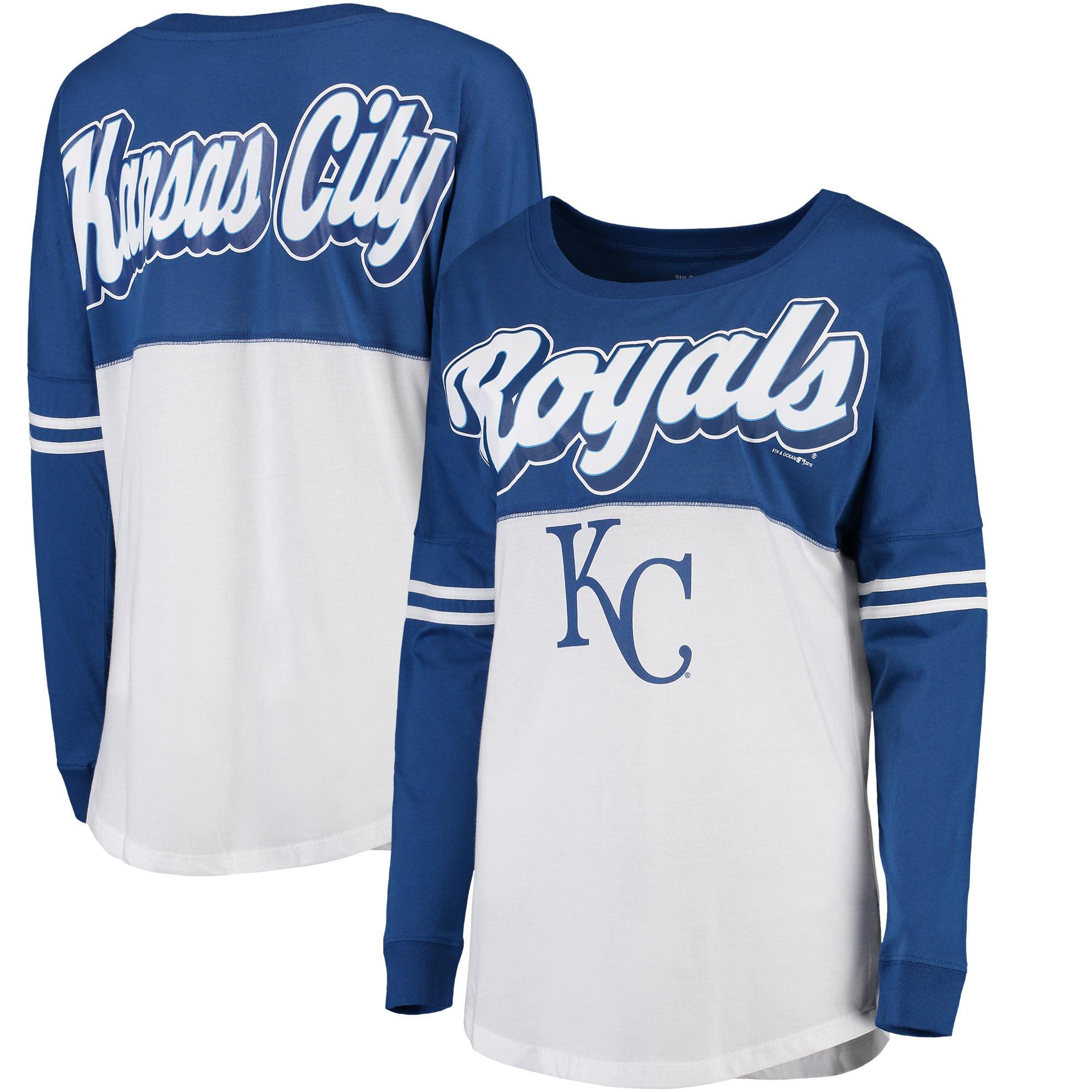 Kansas City Royals 5th & Ocean by New Era Women's MLB Baby Jersey Varsity Crew Boyfriend Long Sleeve T-Shirt - White