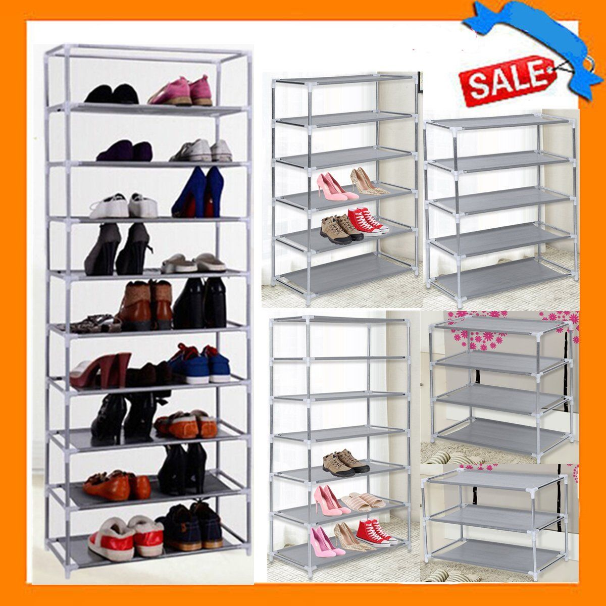 Metal Shoes Rack 3 Layer Shoes Stand Removable Dust-Shelves Storage Organizer Fabric Shelf Holder Stackable Closet