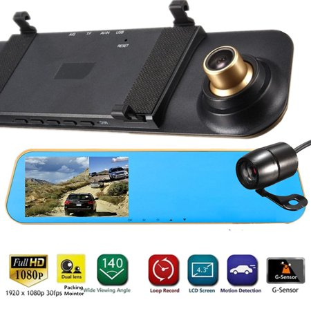 "4.3"" Full HD 1080P Rear View Mirror Camera Dual Lens Car DVR Reversing Cam Dash"
