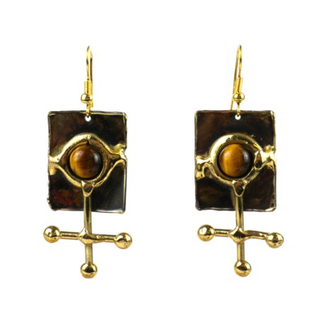 Global Crafts Handmade Gold Tiger Eye Ball and Jack Brass Earrings (South Africa)