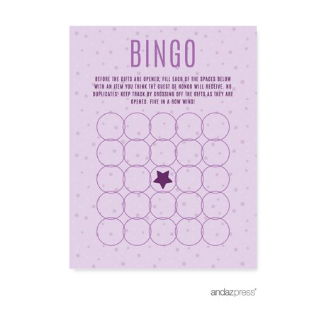 Halloween Party Games Activities (Lavender, Plum, Royal Purple Girls Baby Shower Party, Bingo Game Activity Cards,)