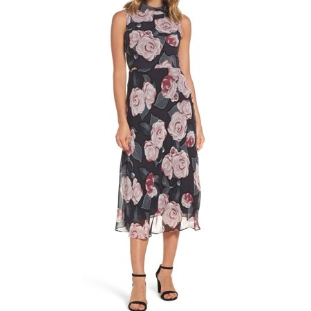 Taylor NEW Black Pink Womens Size 10 Floral Tie Back Sheath Dress - Corey Taylor Jumpsuit