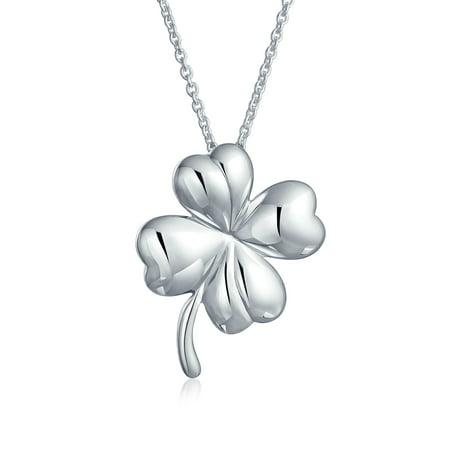 Irish Shamrock Shape Lucky Charm Four Leaf Clover Pendant Necklace For Women For Teen 925 Sterling Silver Gold Four Leaf Clover Necklace