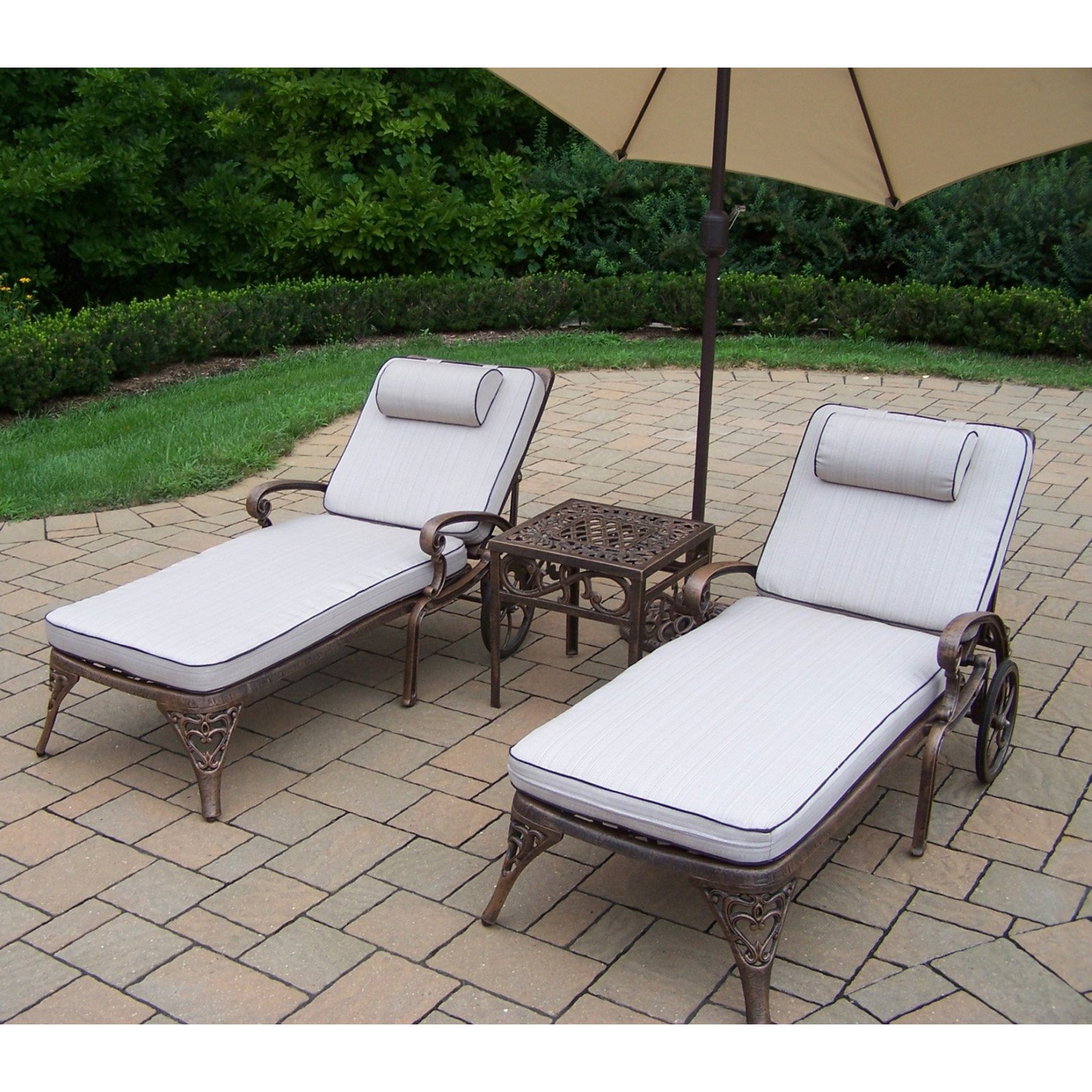 Oakland Living Mississippi Cast Aluminum Chaise Lounge Set with Tilting Umbrella and Stand