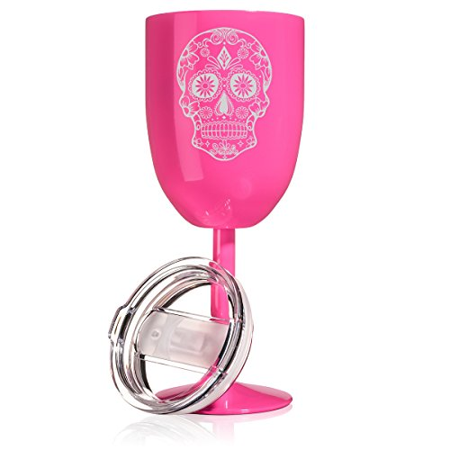 14 oz Double Wall Vacuum Insulated Stainless Steel Wine Tumbler Glass with Lid Sugar Candy Skull (Hot Pink)
