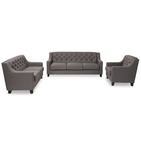 Hawthorne Collection 3 Piece Upholstered Sofa Set in Gray ()