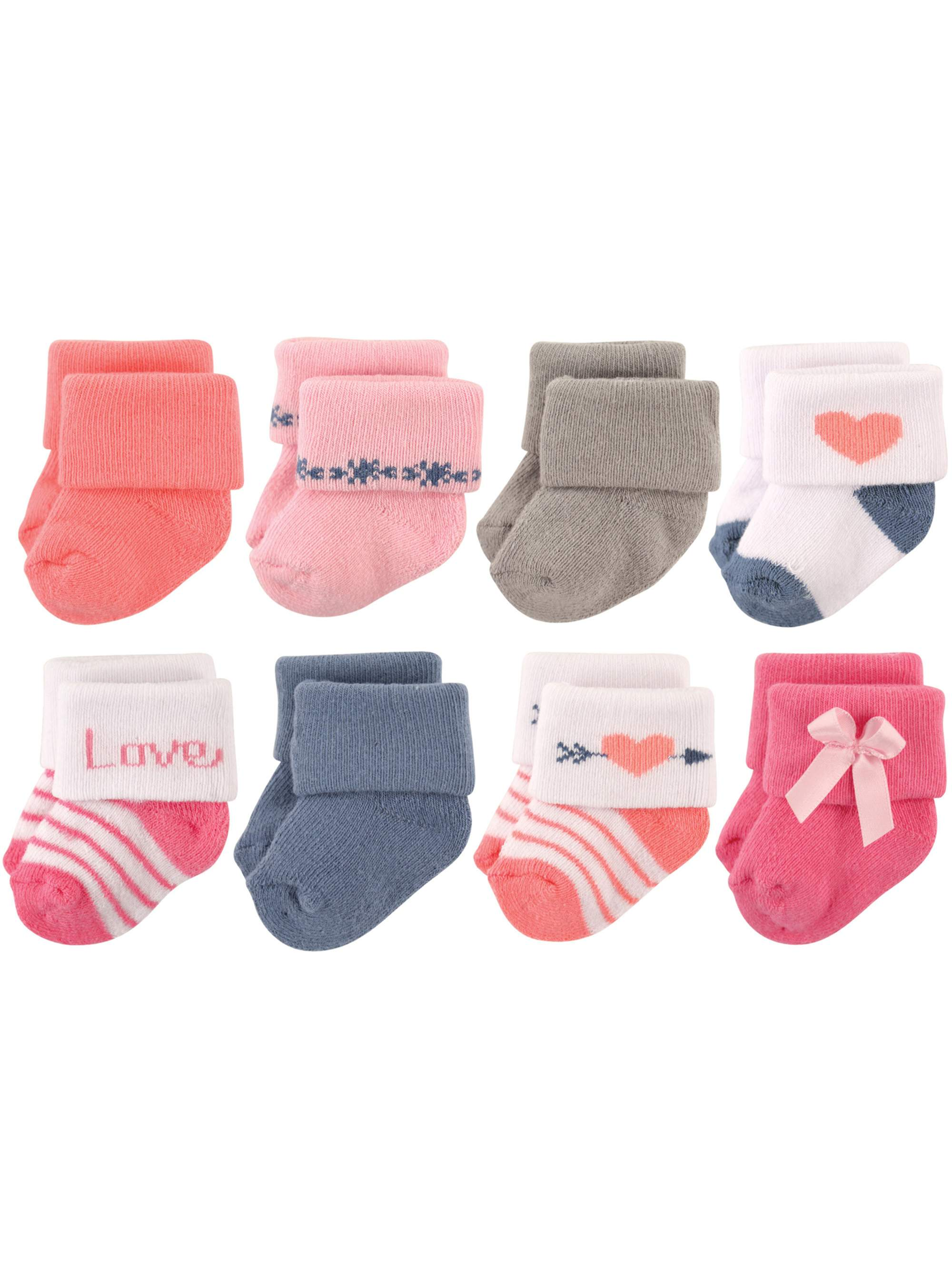 Terry Cloth Roll Cuff Crew Socks, 8-Pack (Baby Girls)