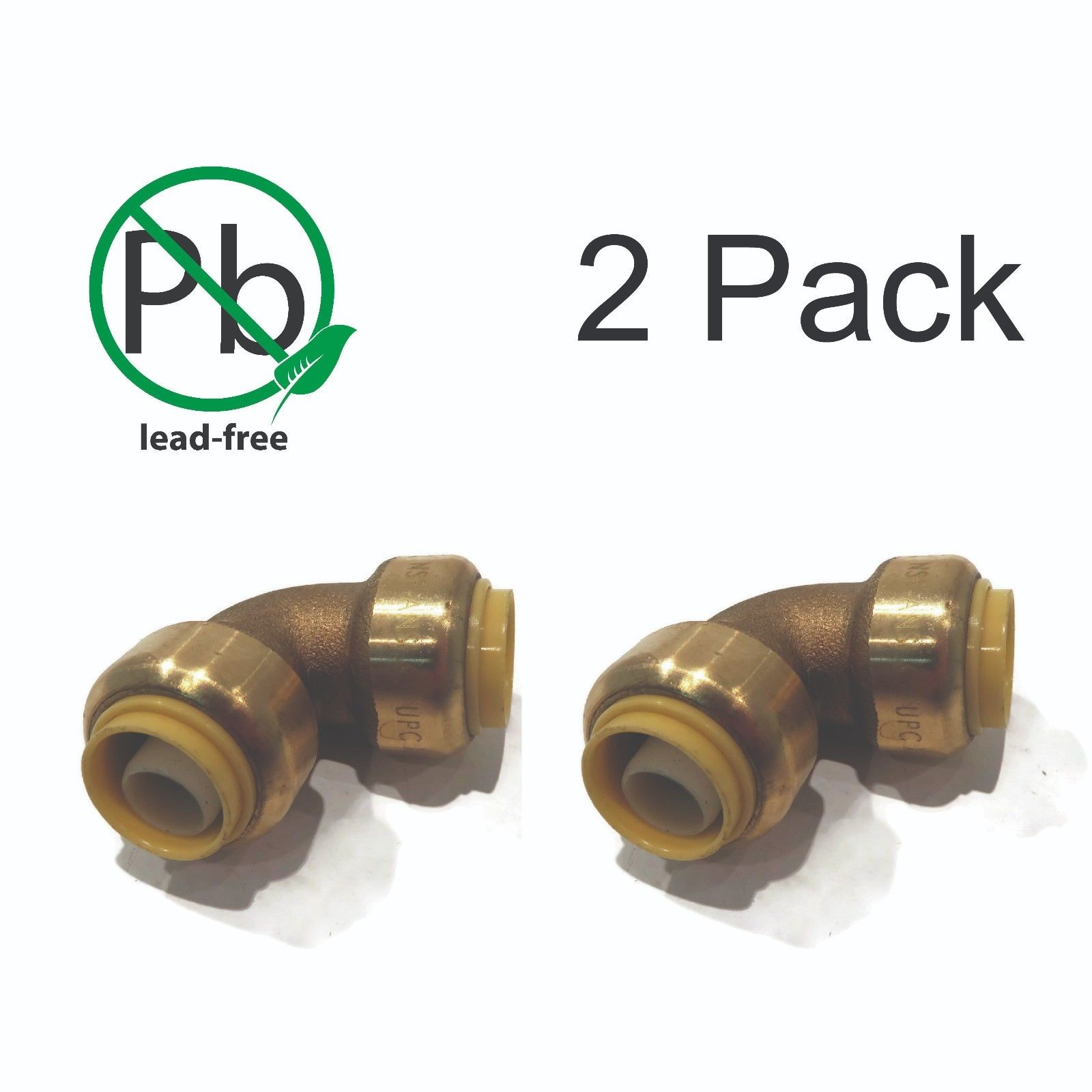 "(2) New 1/2"" Shark Bite Style Push-to-Connect 90° LEAD FREE BRASS ELBOWS Fitting"