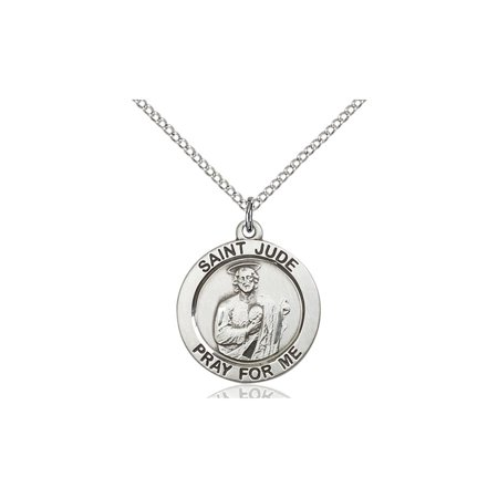 Solid 925 Sterling Silver Saint St  Jude 3 4 X 3 4  Patron Of Desperate Situations Medal Pendant On A 18 Sterling Silver Curb Chain Necklace Gift Boxed