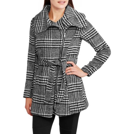 Maxwell Studio Women's Herringbone Asymmetrical Zip-Front Coat