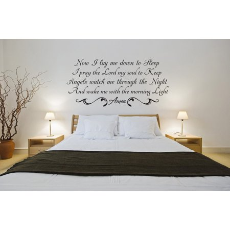 Now I Lay Me Down Vinyl Quote Wall Decal Night Prayer Lord Baby God - Now That Halloween Is Over Quotes