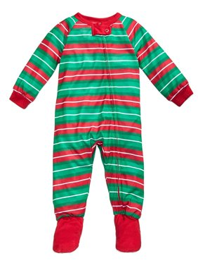 Family PJs Striped Polyester Footed Pajamas