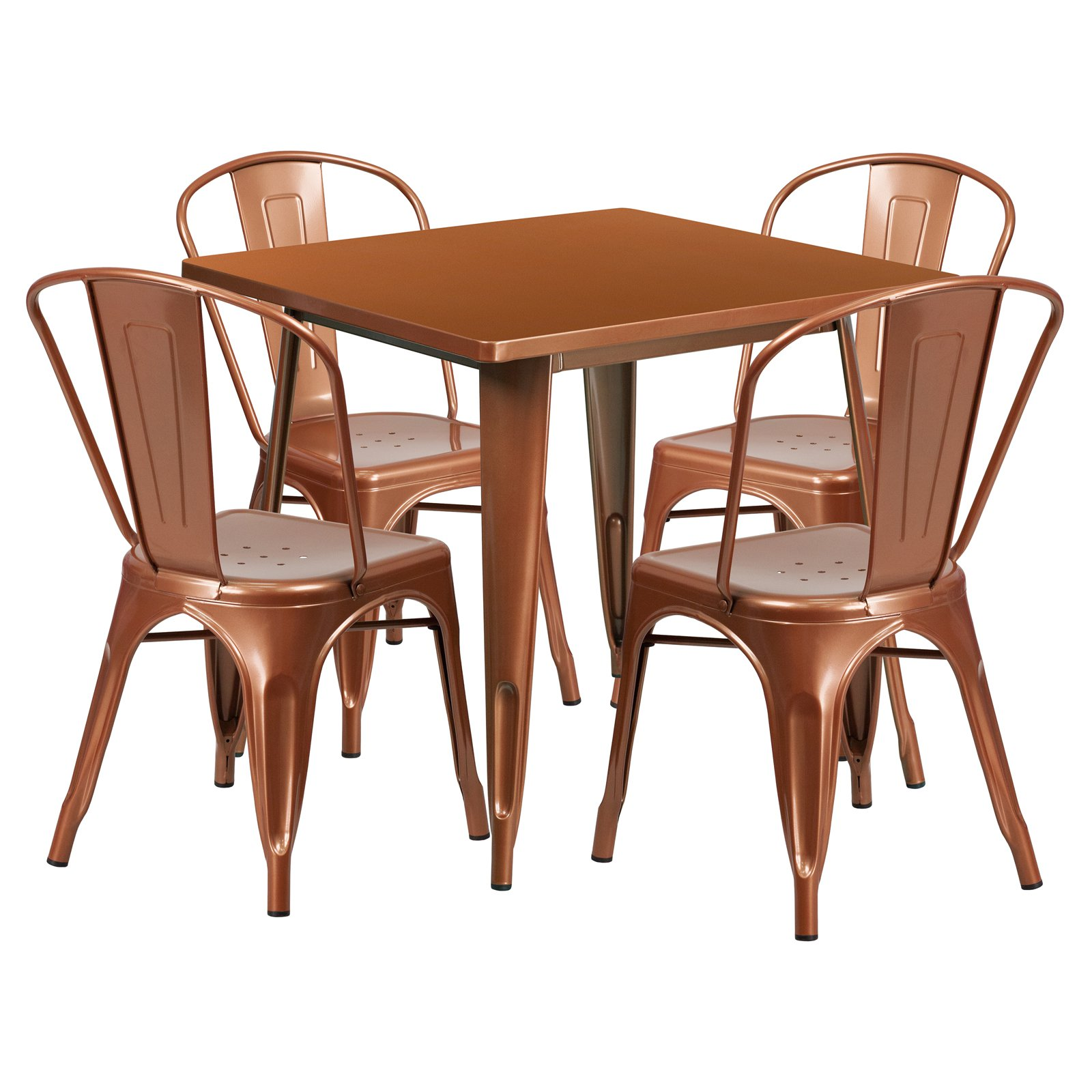 Flash Furniture 31.5\'\' Square Metal Indoor-Outdoor Table Set with 4 ...