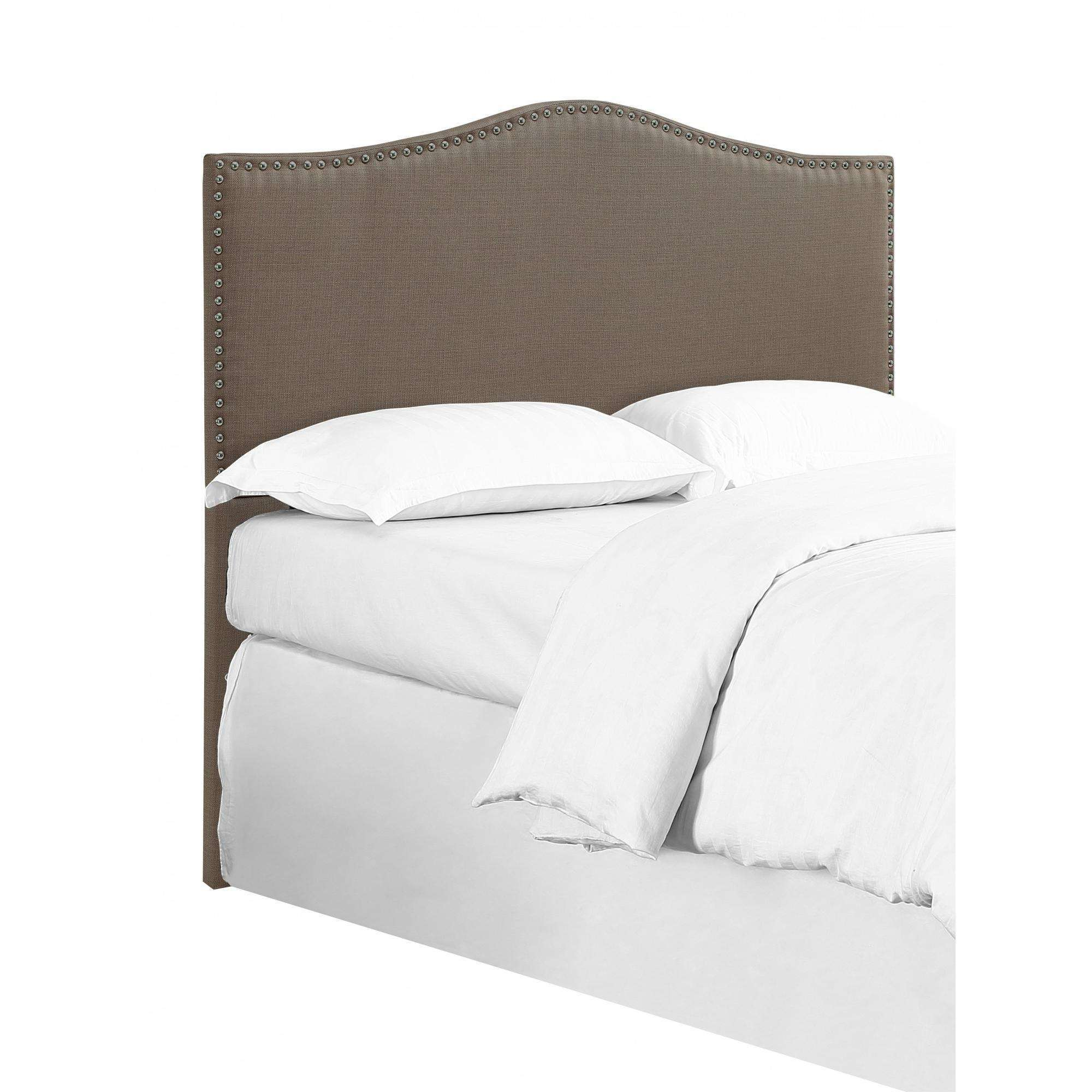 DHI Paige Headboard With Nailhead Trim, Pebble Stone, Full Queen by Dwell Home Furnishings LLC