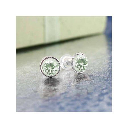 1.60 Ct Round 6mm Green Prasiolite 14K White Gold Stud Earrings - image 1 of 2