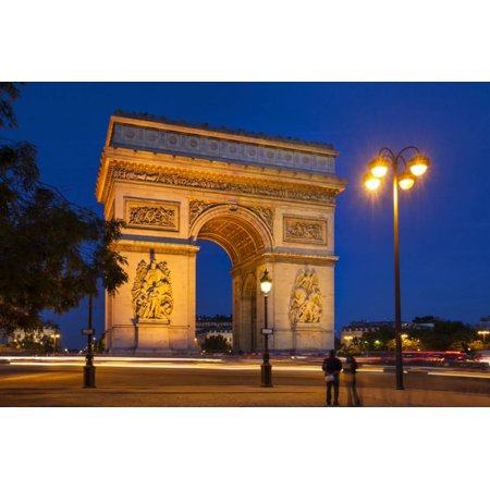 Twilight at Arch De Triomphe, Paris, France Print Wall Art By Brian Jannsen ()
