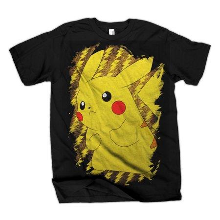 Pokemon Pikachu Brushy Mens Black T-Shirt   M