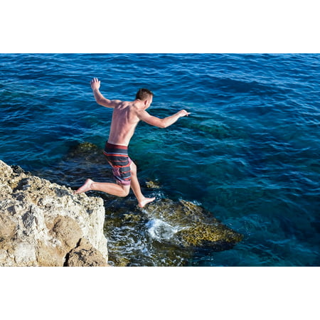 LAMINATED POSTER Sea Cliff Adventure Summer Rock Action Jump Fun Poster Print 24 x 36](Fun Adventure Maps)