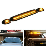 iJDMTOY 3PCS Black Smoked LED Cab Roof Top Marker Running Lamps With Amber LED Lights For Ford F150 F250 F350 Dodge RAM GMC Sierra 1500 2500 Chevrolet Silverado Toyota Tundra Tacoma Truck SUV And More