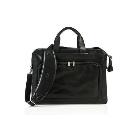 Tony Perotti Brown Bag - Tony Perotti Napoli Laptop Zip-Around Leather Briefcase in Black
