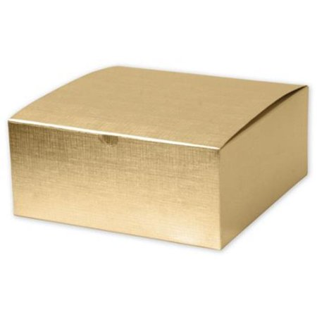 Deluxe Small Business Sales 541-883-15 8 x 8 x 3.5 in. Linen Foil One-Piece Gift Boxes, Gold