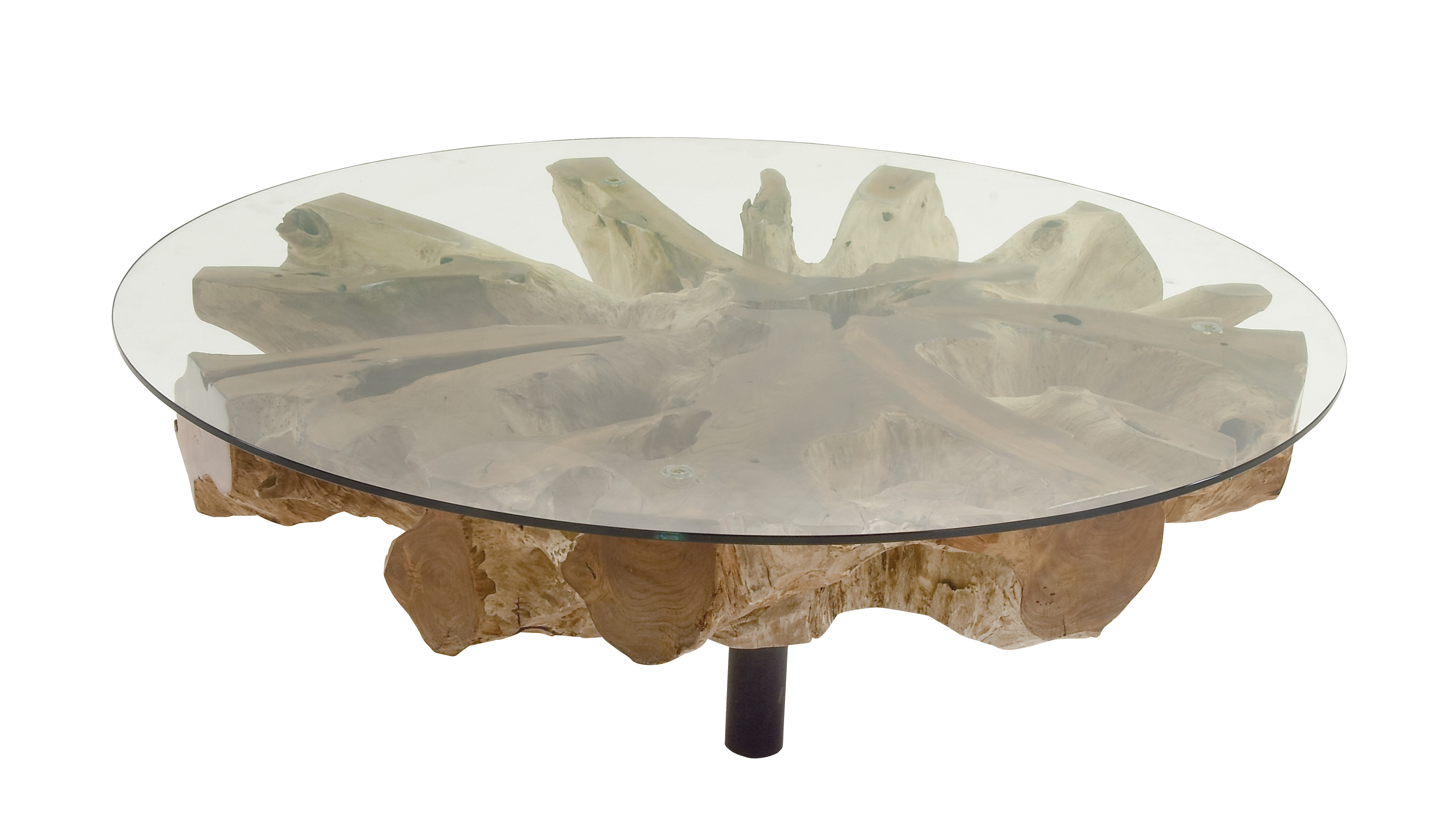 Enticing Teak Coffee Table With Glass by Benzara