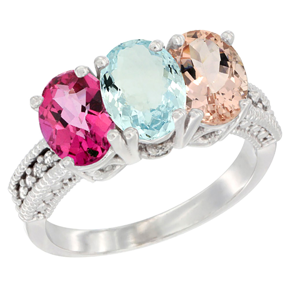 14K White Gold Natural Pink Topaz, Aquamarine & Morganite Ring 3-Stone 7x5 mm Oval Diamond Accent, sizes 5 10 by WorldJewels