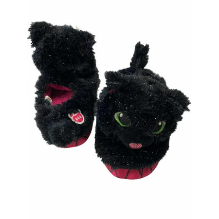 Girls Black Cat Build A Bear Slippers Sparkle Kitty Halloween Shoes