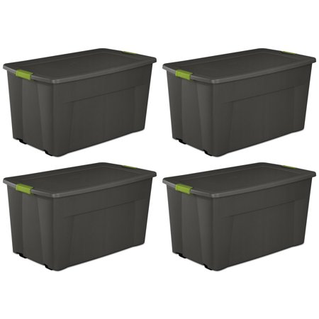 4 Pack) Sterilite 19481004 Large 45 Gallon Wheeled Latching Storage Tote (Sterilite 45 Gallon 170 Liter Wheeled Latch Tote)