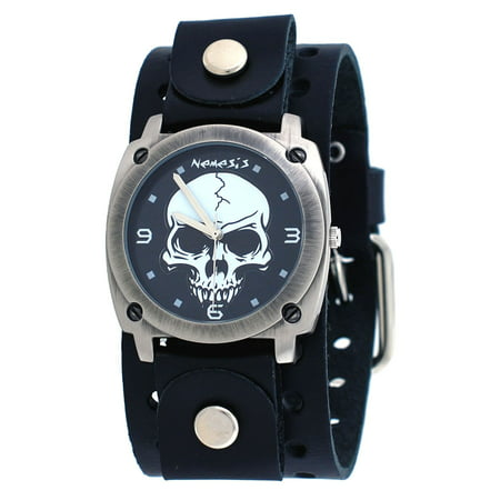 B926K Men's Gun Metal Skull Dial Wide Leather Cuff Band (Skull Cuff Watch)