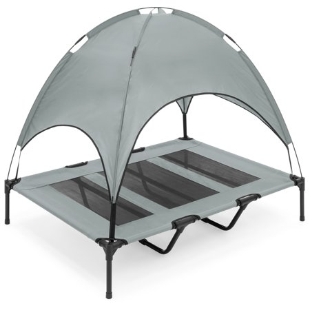 Best Choice Products 48in Outdoor Raised Mesh Cot Cooling Dog Pet Bed for Camping, Beach w/ Removable Canopy, Travel Bag - Gray ()
