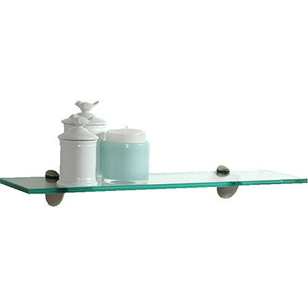 "Glass Bracketed Wall Shelf, 23.6"" W x 5.9"" D x 2.4"" H, Clear"