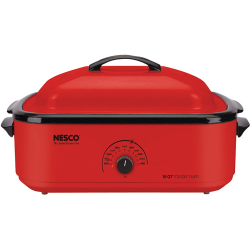 Nesco 22-Pound Porcelain Roaster Oven, 18-Quart Capacity, Red