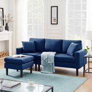 """UHOMEPRO Convertible Sectional Sofa Couch, 77""""W L-Shaped Couch with Modern Polyester Fabric for Small Space, High-End Living Room Furniture Couch Sofa Set, Comfortable Fabric Sofa, Navy Blue, Q15614"""