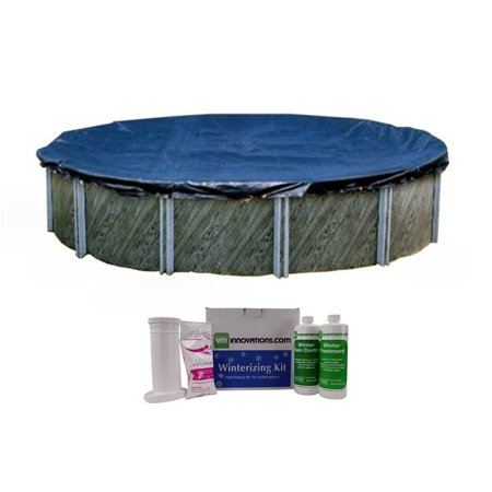 Swimline 28 Foot Round Above Ground Pool Cover with Winterizing Chemical Kit