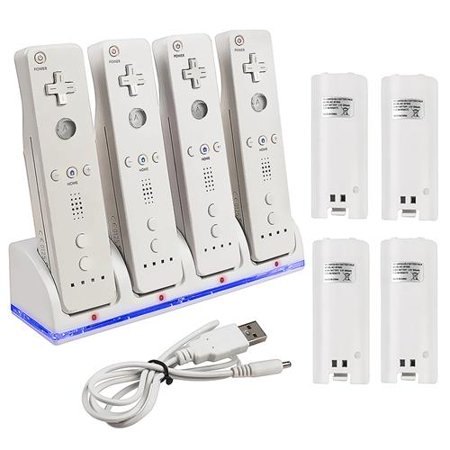 Insten Quad Dock Charge Station Cradle Charger with 4-pack Rechargeable Battery For Nintendo Wii Wii U Remote Controller - White (with USB Charging Cable)