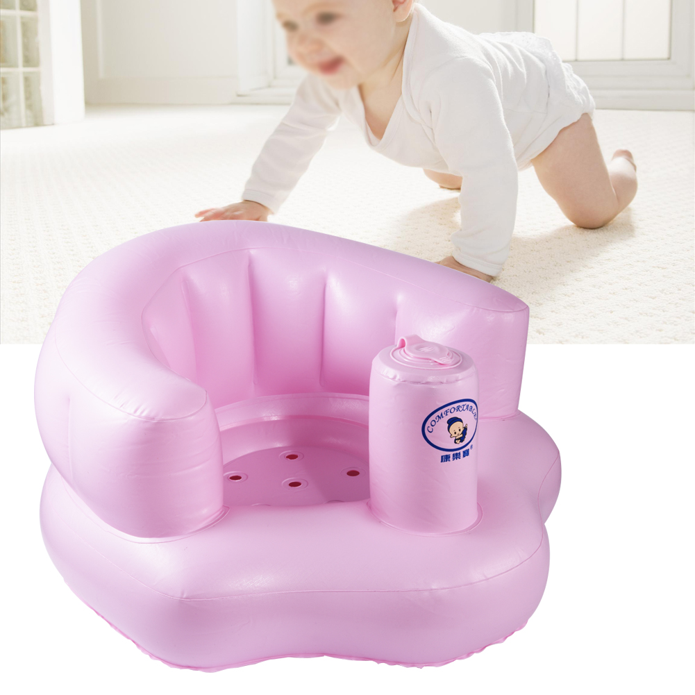 EECOO Baby Infant Inflatable PVC Sofa Learn Stool Training Seat Portable Kids Bath Dining Chair Baby Inflatable Chair Bath Sofa