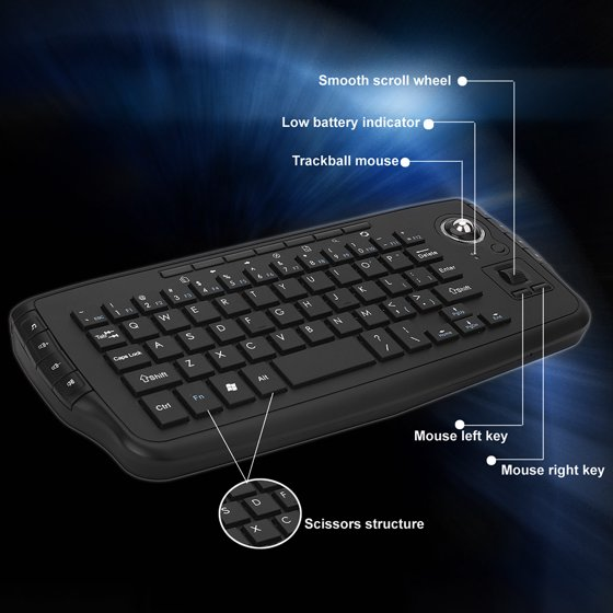 549edb8e87d E30 2.4GHz Wireless Keyboard with Trackball Mouse Scroll Wheel Remote  Control for Android TV BOX Smart TV PC Notebook Silver - Walmart.com