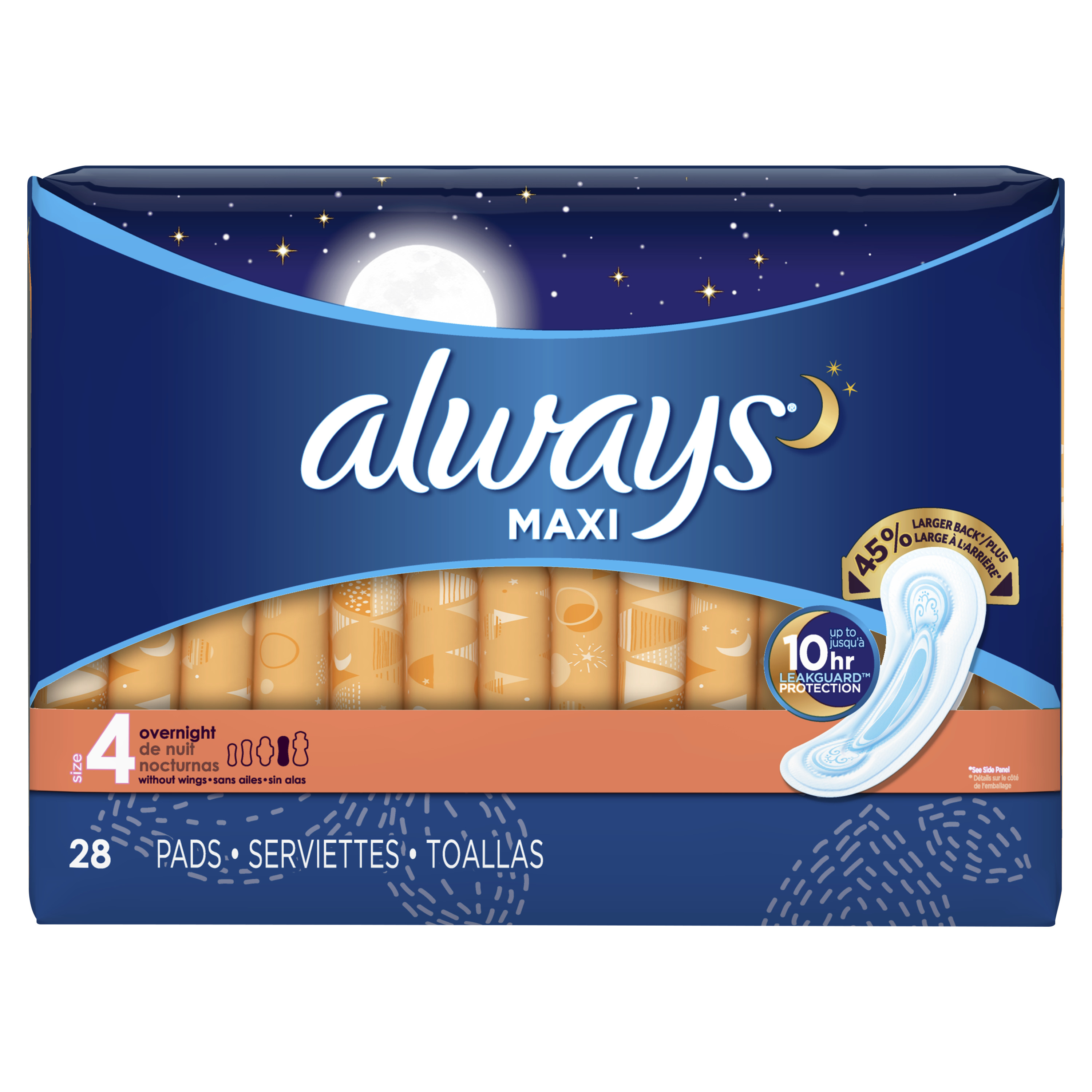 Always Maxi, Size 4, Overnight Pads Without Wings, Unscented, 28 Count