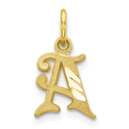10k Yellow Gold Initial Monogram Name Letter A Pendant Charm Necklace Gifts For Women For Her